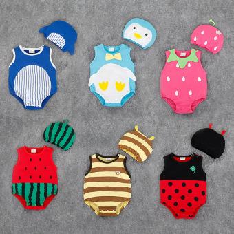 BELI SEKARANG Dua potong bayi tanpa lengan katun hewan bentuk baju monyetKuning Klik di sini !!!