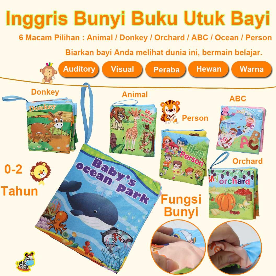 EELIC BU203X1 Fungsi Bunyi Buku Bayi Mainan 6 Macam Pilian Alphabet Person Ocean Farm Animal Orchard