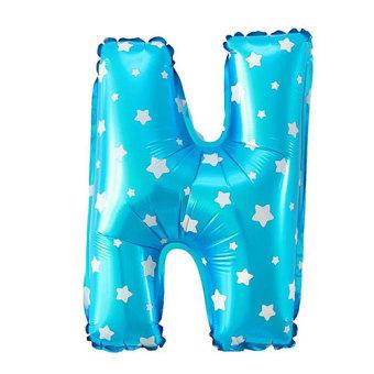 Foil Balon Huruf N - Biru Motif Bintang