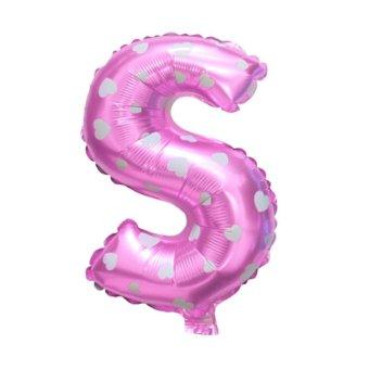 Gambar Foil Balon Huruf S Pink Motif Love