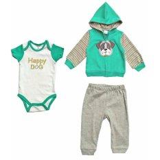 Freeshop 3 in1 Jumper Baby Set Jumper Jaket Celana Panjang Pakaian Bayi Laki Laki Doggi - F1041E