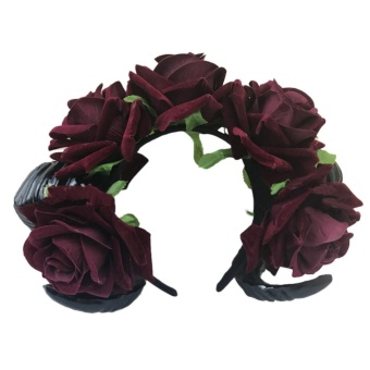 BELI Halloween Vintage Restyle Sheep Horn Rose Flower Headband GothicBeauty Horror Horns Halloween Fancy Dress ball Hair Accessories -intl TERPOPULER