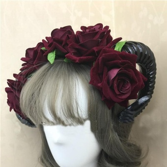 Halloween Vintage Restyle Sheep Horn Rose Flower Headband GothicBeauty Horror Horns Halloween Fancy Dress ball Hair Accessories -intl