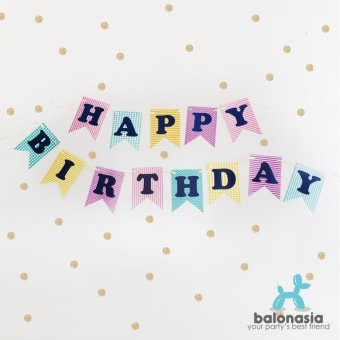 Harga Balonasia Banner Flag HAPPY BIRTHDAY Rainbow
