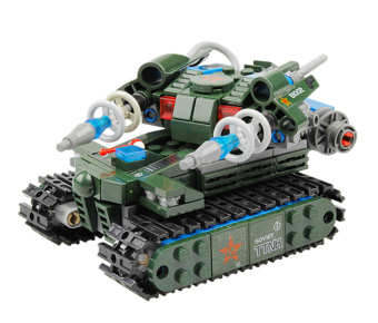 Harga Red Alert 3.0 81002 262pcs 3D Construction Educational Plastic Building Blocks Sets Military Army Tesla Tank(Green)