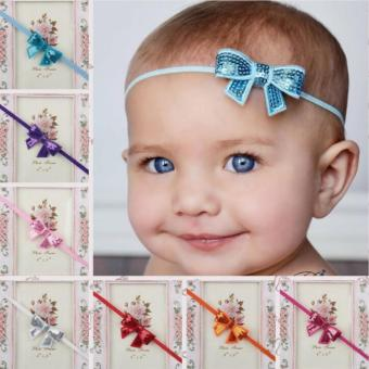 Harga Bear Fashion 12pcs Bow Sequins Baby Girls Head Bands Hair Accessories - intl