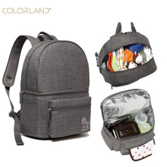 Harga Colorland Diaper Bag Backpack Baby Feeding Bottle Bag For Dad Mummy Maternity Nappy Bag Insulation Backpacks (Grey) - intl