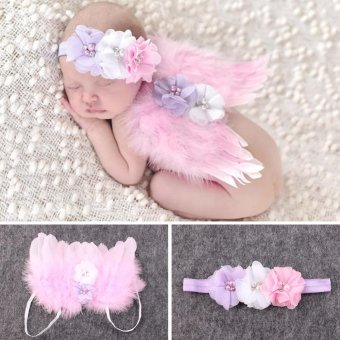 Baby Girls Angel Wings Wing Set Feather Newborn Photography - 3