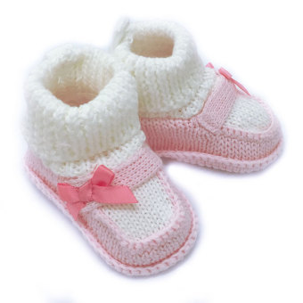 Harga Baby Grow Newborn Knitted Booties – Pink/White Bow