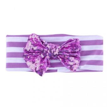 Harga Baby Kids Girls Striped Turban Hair Band Bow Headwear(purple)
