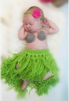 Harga MG Baby 3 Pieces Photo Prop Costume Photography Prop Knitted Crochet Headband Bra and Skirt Set (Green) - intl