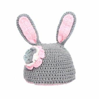 Baby Rabbit Costume Girl Flower Hat Newborn Crochet Outfits Photography Props Gray intl .