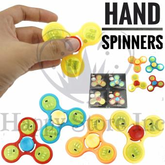 Happy Fidget Spinner LED Disco Tombol On Off Hand Toys Focus Games Mainan .