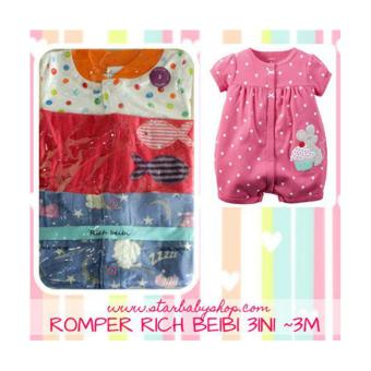 Harga Baby Grow - Rich Beibi Romper 3in1 -Girls - 3M