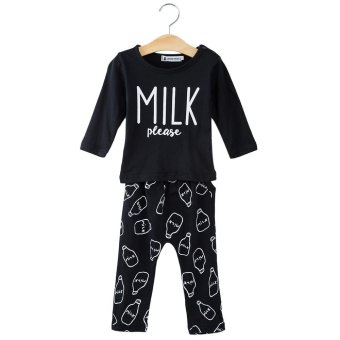 Harga 2pcs Babies Clothing Set Milk Letter Printed T-shirt Bottle Pattern Trousers 70 (Black)