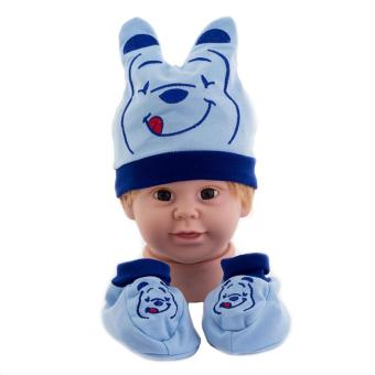 Topi Sepatu Bayi Set Motif WTP Biru Topi Sepatu Set Bayi