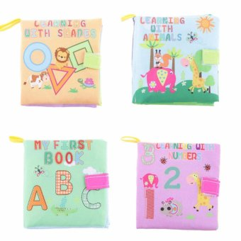 Harga EELIC AYI-BU05 4PCS ANIMAL+ABC+SHAPES+NUMBER Baby Book Kain