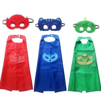Harga pjmasks 2017 New 2pcs/set PJ Masks Role-play cloak Cape and Mask Owlette Catboy Gecko Cosplay Action Toys For Children (red) - intl