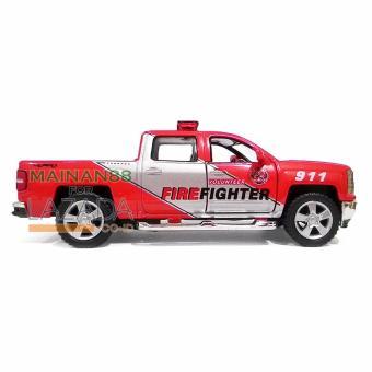 Detail Gambar Kinsmart Diecast Mobil 2014 Chevrolet Silverado Mainan Anak Miniatur Pajangan Mobil Pemadam Kebakaran -