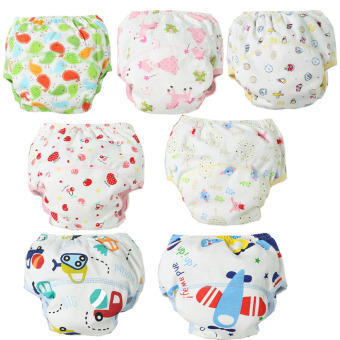 Harga 4pcs/lot Waterproof Baby Training Pants Cotton Washable Cloth Diaper Panties for Kids Underwear Nappy Pant - intl