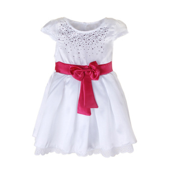 Harga Rorychen Baby Kids Girl Rhinestone Bridesmaid Dress with Bowknot(Pink)