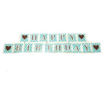 Harga Banner / Bunting Flag Happy Birthday Motif Love Polkadot