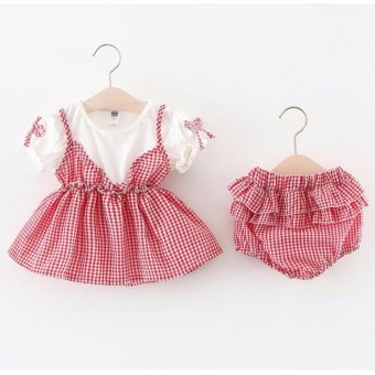 Harga 2Pieces Baby Girl Kids Summer Fashion Dress - intl