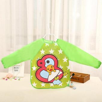 Harga Jiayiqi Transparent Waterproof Baby Bibs Long Sleeve Wear Clothing Cartoon Feeding Bibs - intl