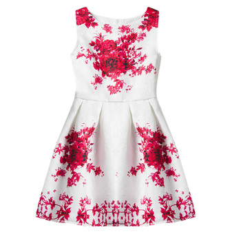 Harga Princes Sleeveless Dress (White+Red) - intl