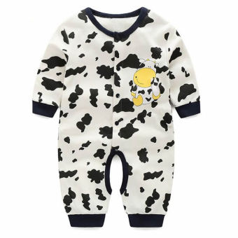 Newborn Cotton Baby Boys Cow Pattern Clothes Baby Rompers Long Sleeve Body Suits Jumpsuits - intl ...