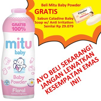 Harga Mitu baby - Baby Powder Floral Natural Fragance 100g +100g + BONUS Caladine Baby Soap Anti Irritation 85g