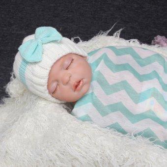 Bayi baru lahir balita anak rajut topi rajutan wol lembut putih dan biru - 2 .