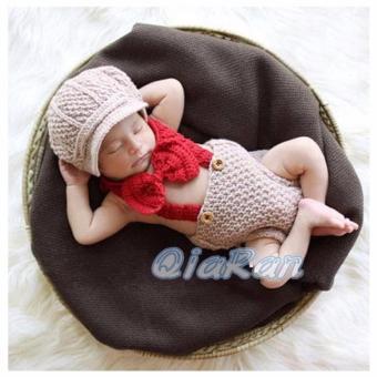 Kostum Bayi / Baby Crochet Gentlement Baby Beret Kostum Newborn Impor / Photography .
