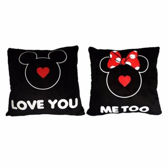 Harga Disney Mickey Bantal Valentin Disney Mickey Mini Mouse ( Valentine Pillow Mickey Mouse I Love u dan Minnie Mouse Me Too ) 12 inch
