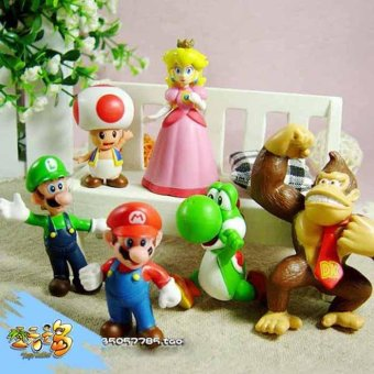 Harga 6pcs Mini Super Mario Bros 1.5~2.5' Action Figures Doll Toy Gifts Multicolor - intl