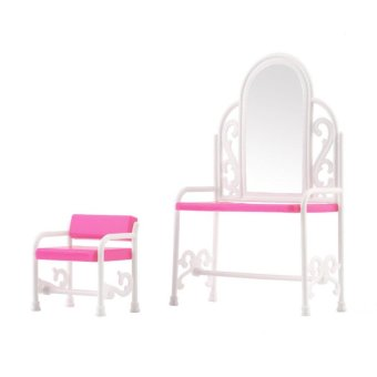 Harga Dressing Table & Chair Accessories Set For Barbies Dolls Bedroom Furniture