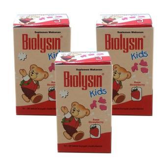 Biolysin Kids Strawberry 30's 3 Pcs - Multivitamin Anak, Vitamin Tumbuh Kembang Anak, Meningkatkan