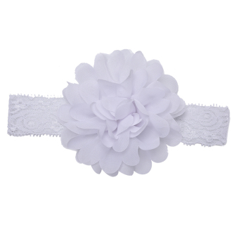 Harga Lace Flower Headbands Baby Hair Accessory Trendy Tiara Elastic Lovely HairBand White - Intl
