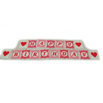 Harga Banner / Bunting Flag Happy Birthday Motif Love