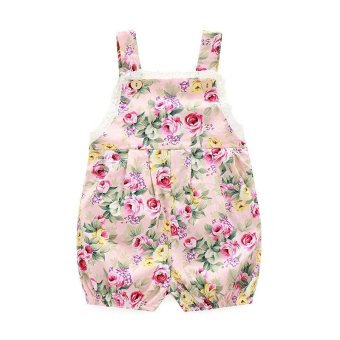 INS Super Cute Baby Girls Sleeveless Strap Bodysuit Romper Fashion Floral Printing Jumpsuit .