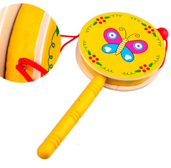 Kayu Anak bayi drum tangan rattle