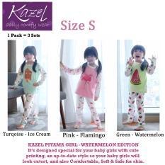 Kazel Piyama Girl Watermelon Edition - Baju Tidur Setelan Anak Isi 3 Pcs (S)