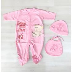 Klik Mds Baju Anak Bayi Jumpsuit Motif Sweet Little Bear Polkadot Free Topi dan Celemek -