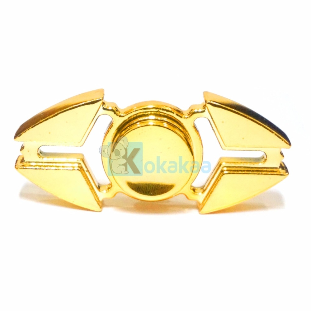 Kokakaa Fidget Hand Spinner Premium Chrome Gold Shuriken 2 Bintang Mainan Anti Stress .