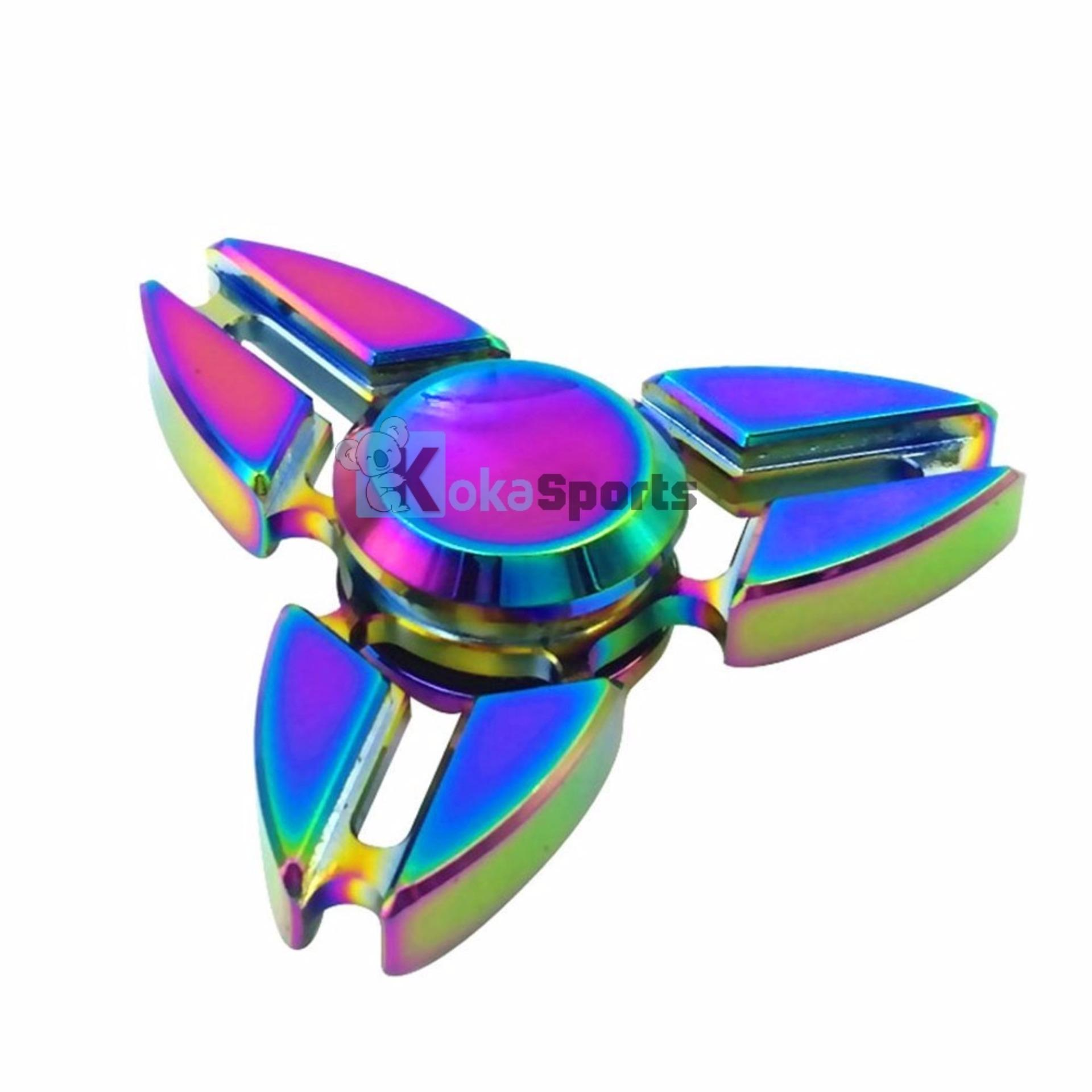 Kokakaa Fidget Hand Spinner Premium Rainbow Chrome Shuriken 3 Bintang Mainan Anti Stress .