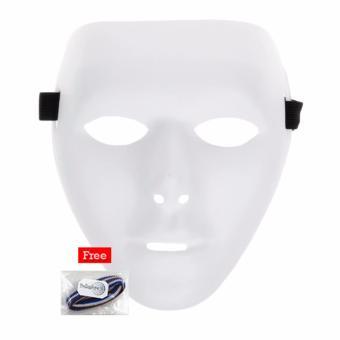 REVIEW Lucky – Topeng Jabbawockeez White Mask Action – Putih  1Pcs + Free 1 Pcs Polkadope Ikat Rambut MURAH