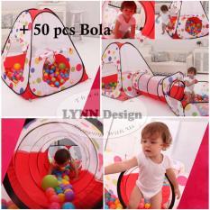 Lynn Design - Tenda Terowongan + 50 pcs bola  Keranjang Mandi Bola Anak