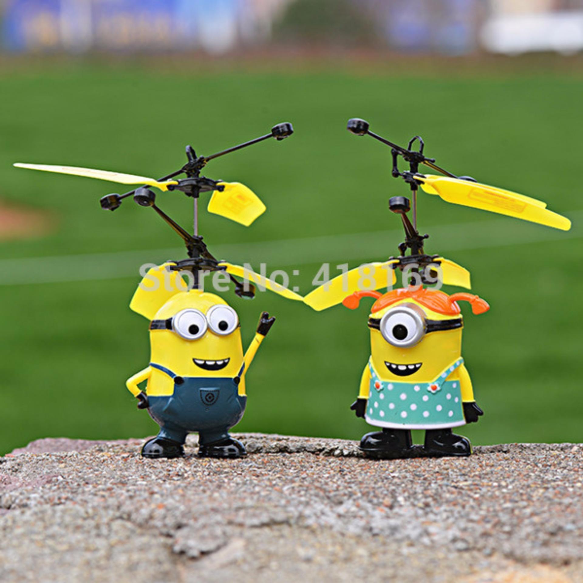 Price Checker Minion Toys Drone Flash Sensor Tanpa Remote Cari Karakter Helikopter Mainan Terbang