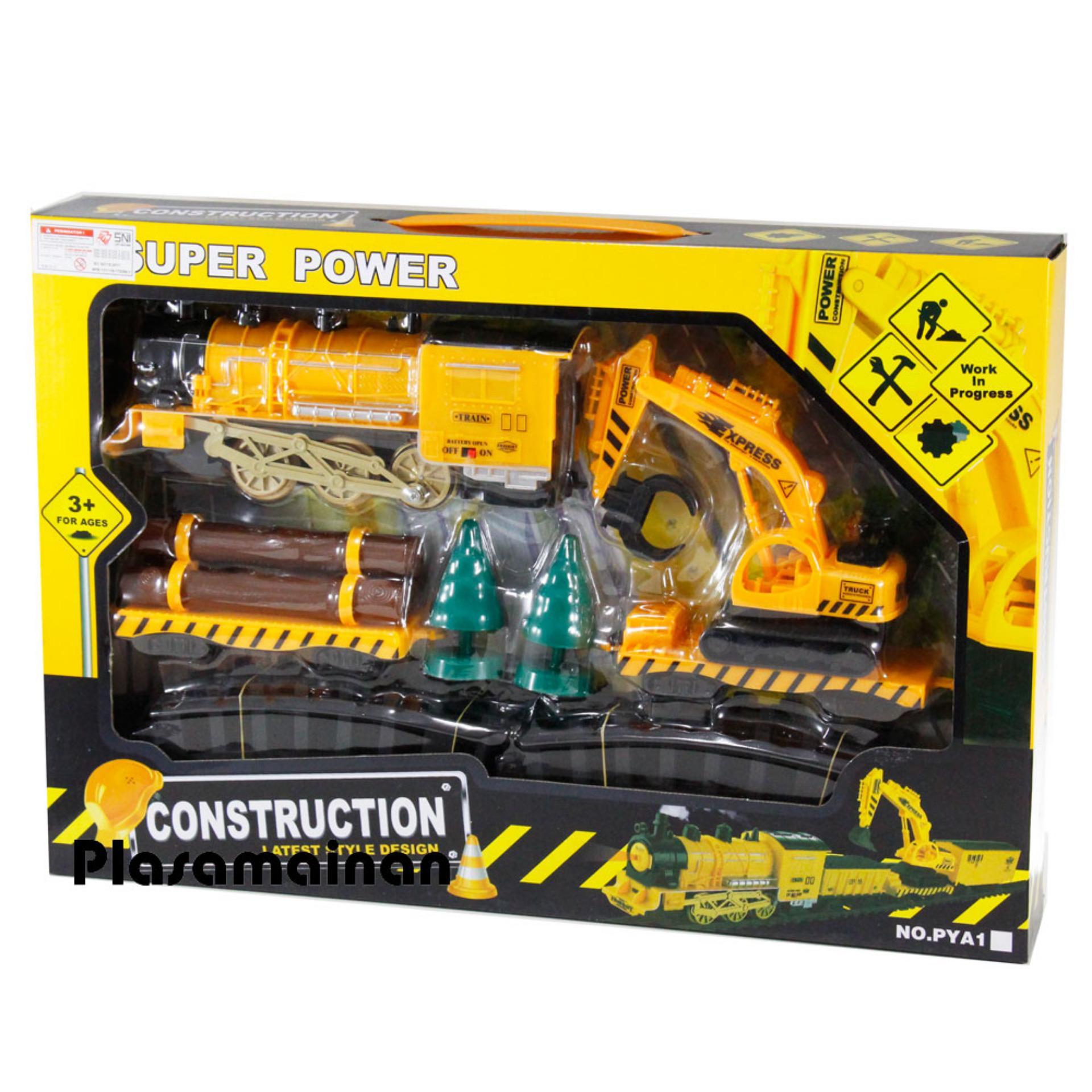 ... MOMO Toys Train Construction Super Power - Mainan Anak Kereta Api Plus Truck Excapator / Beko ...