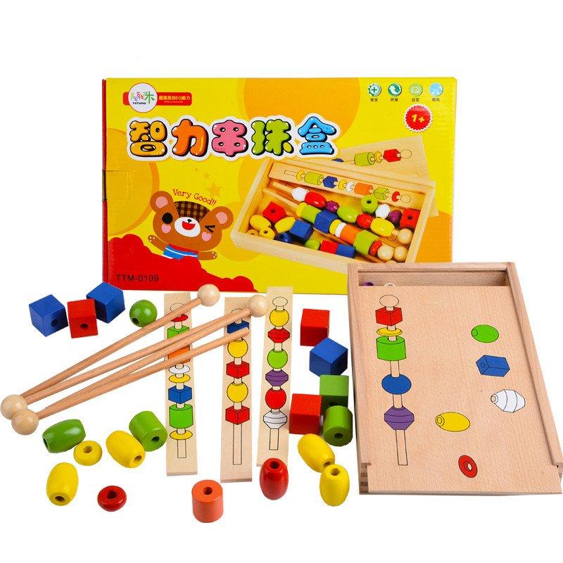 Flash Sale Montessori manik-manik multifungsi tongkat kayu blok bangunan kotak intelijen